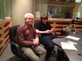 Brian Colleary of the Miami-Dade Public Library System and 2013 poetry contest winner James Lachterman at the WLRN Studios.