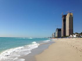 The coast of Sunny Isles Beach, where new condos are being built without sea level rise protection.