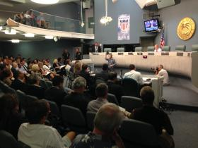 A packed Miami Beach City Hall during the hearing on sea level rise.
