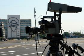 A Cuban state television camera at the Plaza de la Revolucion in Havana.