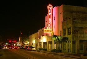 The Seminole theater opened in 1921 but closed in 1979 because of declining attendance. The owners donated the theater to the city in 1993, after Hurricane Andrew tore the roof off.