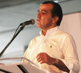 Challenger Zuluaga speaks in Bucaramanga, Colombia, in 2011.