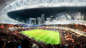 A rendering of the interior bowl of the proposed soccer stadium at PortMiami.