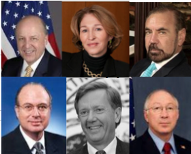 Among the signers of a letter calling on the president to ease restrictions in the Cuban embargo are, clockwise, former intelligence chief John Negroponte, former foreign policy advisor Anne-Marie Slaughter, Related Group CEO Jorge Perez, former ambassador Paul Cejas and former Secretaries of the Interior Bruce Babbit and Ken Salazar.