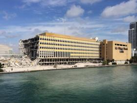 The old Miami Herald building started being demolished April 28.