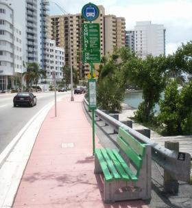 An uncovered bus stop on South Beach