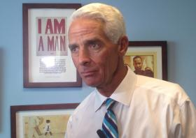 Charlie Crist talks politics at the offices of the United Teachers of Dade.