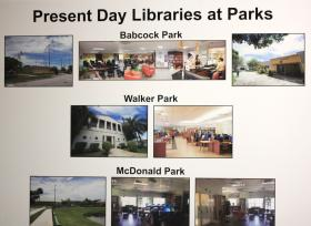 Examples of present day libraries at Miami-Dade parks.