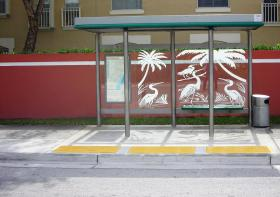 Not all bus stops have shelters like this one in unincorporated Miami-Dade County.