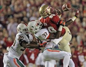 The University of Miami Hurricanes played the Florida State Seminoles last year at Florida State's Doak Campbell Stadium on November 2, 2013.