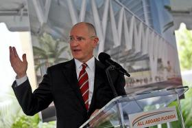 All Aboard Florida President and Chief Development Officer Michael Reininger announces plans for the rail system's downtown station.