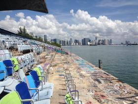 Miami Marine Stadium sits on Biscayne Bay. The outdoor stadium originally served as a boat racing and concert venue.