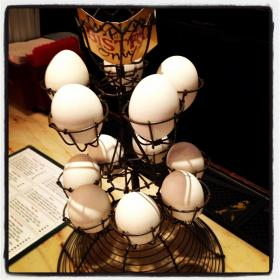 A rack of eggs.