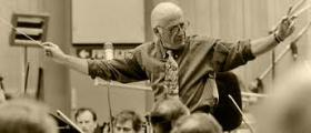 Composer Jerry Goldsmith doing what he loved best.