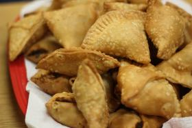 Samosas, or fried potato/beef patties, are a common food Muslims eat to break their fast during Ramadan.