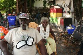 James and Kim Chapman are no longer living in the home his grandfather built more than 100 years ago, at the corner of Petronia Street and Chapman Lane. But they still come every day to hang out in the yard.