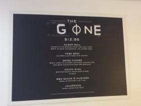 The sign for the Gone burger at OneBurger in Coral Gables.