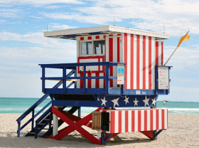 A lifeguard stand on 13th Street in Miami Beach.