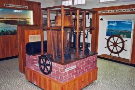 Dr. John Gorrie's ice machine is on display at John Gorrie Museum State Park in Apalachicola, FL. An 8-by-10-inch block of ice would be stored inside it.