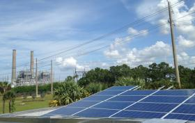A solar panel installation at FPL's Martin County Next Generation hybrid natural gas and solar energy plant.