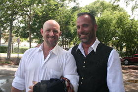 William Jones, left, and Aaron Huntsman, right, are plaintiffs in the lawsuit and are seeking to marry in Florida. They are both bartenders in Key West and have been together for 11 years.