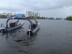 Marine Advanced Research donated a WAM-V unmanned boat platform to each team. From there, they have to design sensors and programming to perform five tasks.