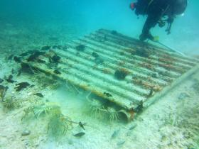 One of hundreds of 'casitas,' illegal lobster traps on the ocean floor off the Florida Keys.