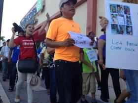 Protesters march through Homestead shopping centers.