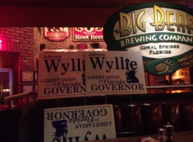 At the Wyllie for Governor craft brew tour stop in Coral Springs, campaign members and volunteers gave out materials to supporters.