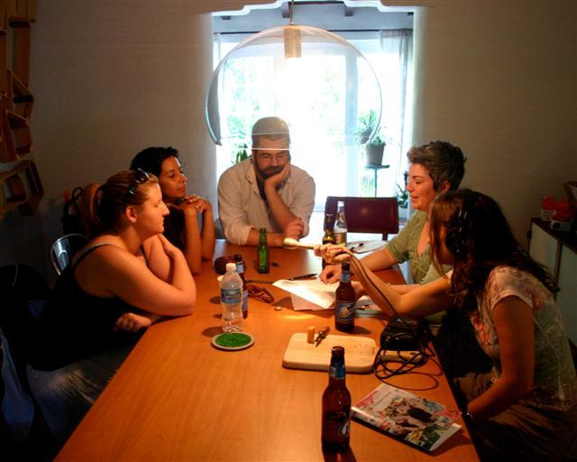 Alicia Zuckerman interviews members of the Miami Poetry Collective. (L to R) Laura McDermott, Yaddyra Peralta, James May, Jessica Machado, Alicia Zuckerman
