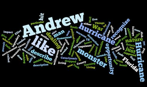 Word art generated by the descriptions of Hurricane Andrew used in this radio story.