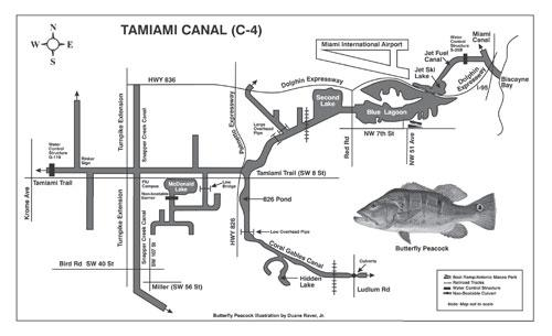 Angler's Map of the Tamiami Trail (C-4) Cana