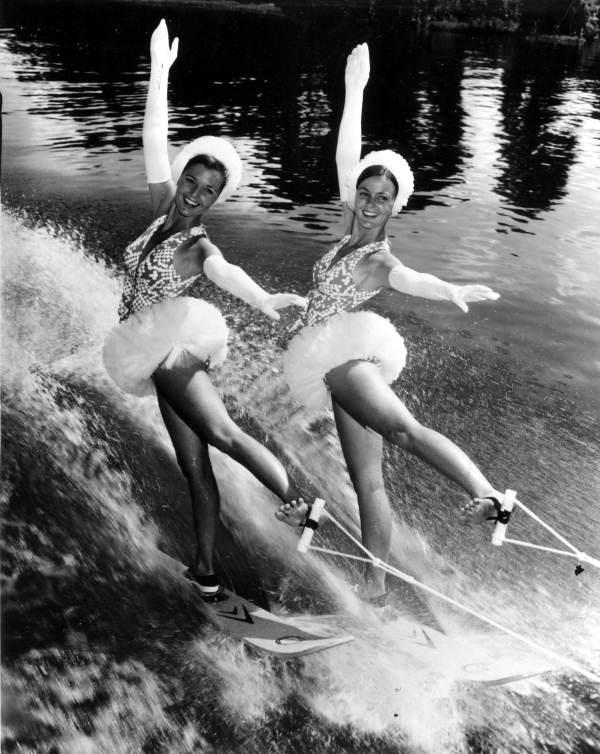 Performers water ski in tutus at Cypress Gardens in the 1960′s.