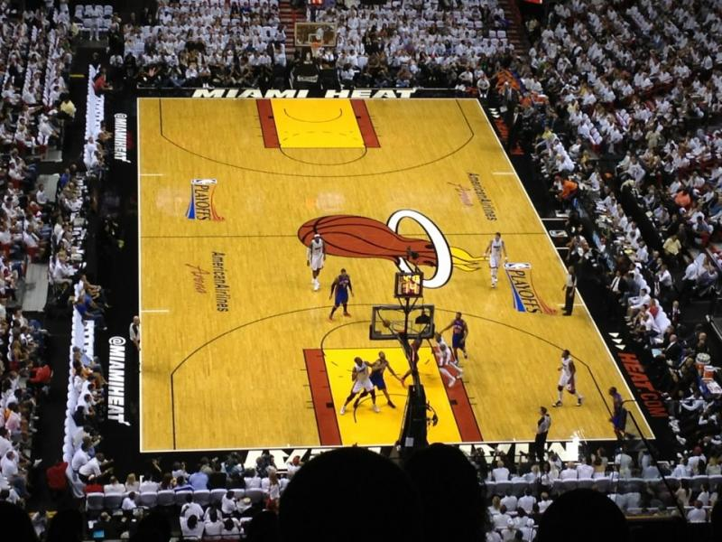 The Miami Heat and the New York Knicks at American Airlines Arena during the NBA playoffs in April.