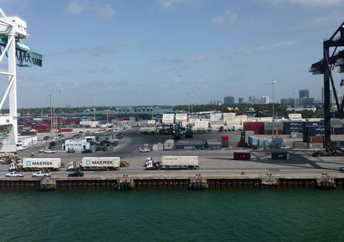 View of Port Miami from a cargo ship.