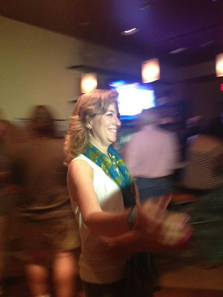 Environmentalist Kristin Jacobs says her outfit tonight represents the ocean and the earth.