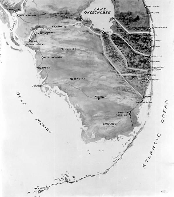 Map of South Florida canals from 1924.