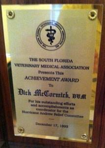 Award for Hurricane Andrew Relief Effort.