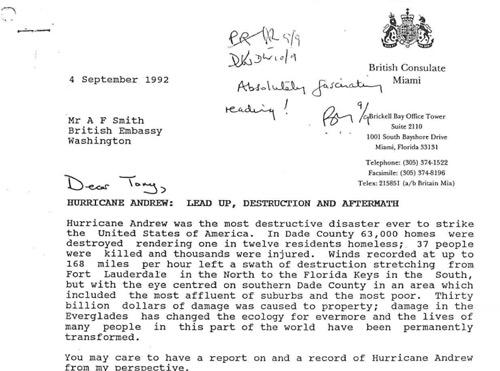 The report Philip Grice, British consul-general, wrote about Hurricane Andrew in 1992. Click on the picture to read the full document. (Thanks to current consul-general, Kevin McGurgan, for showing us this document.)