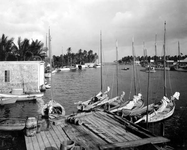 Sailboats on the Miami River in 1912