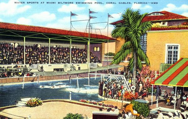A postcard of the Biltmore Hotel swimming pool in Coral Gables.