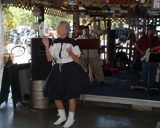 Betty Whitten is a regular at Alabama Jack's. She clogs to the music of the Card Sound Machine Band.