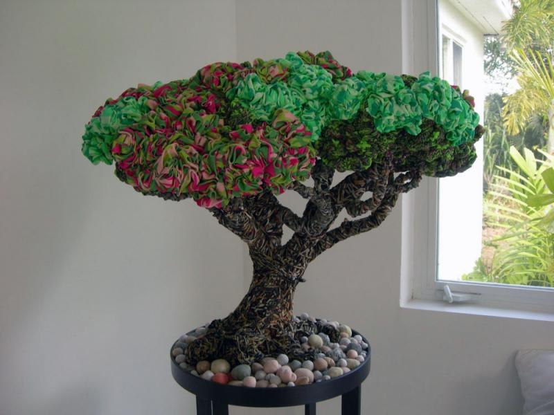 This bonsai tree is made from leopard print garments.