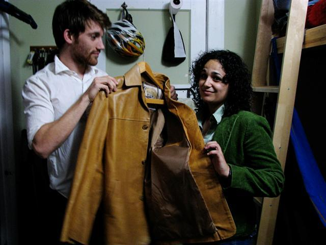 Kenny Malone shows Nicole Chipi his prized Florentine leather jacket.