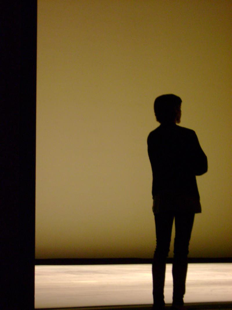 Lourdes Lopez looks out over the stage at the Arsht Center during a rehearsal.