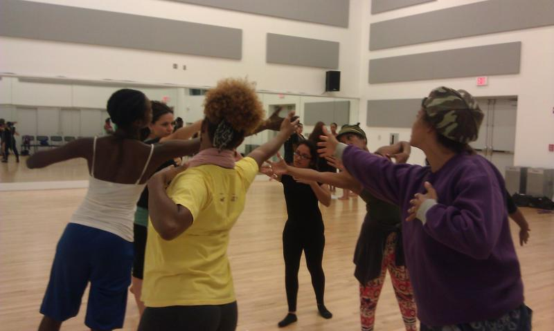 Urban Bush Women dance company rehearsal for Saturday's performance