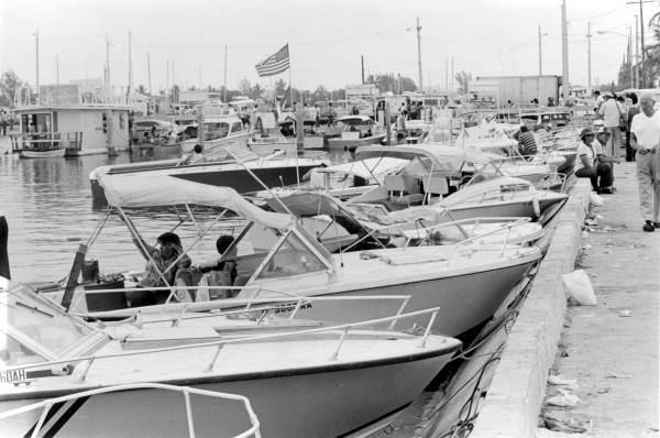 Boats docked in Key West during the Mariel boatlift.