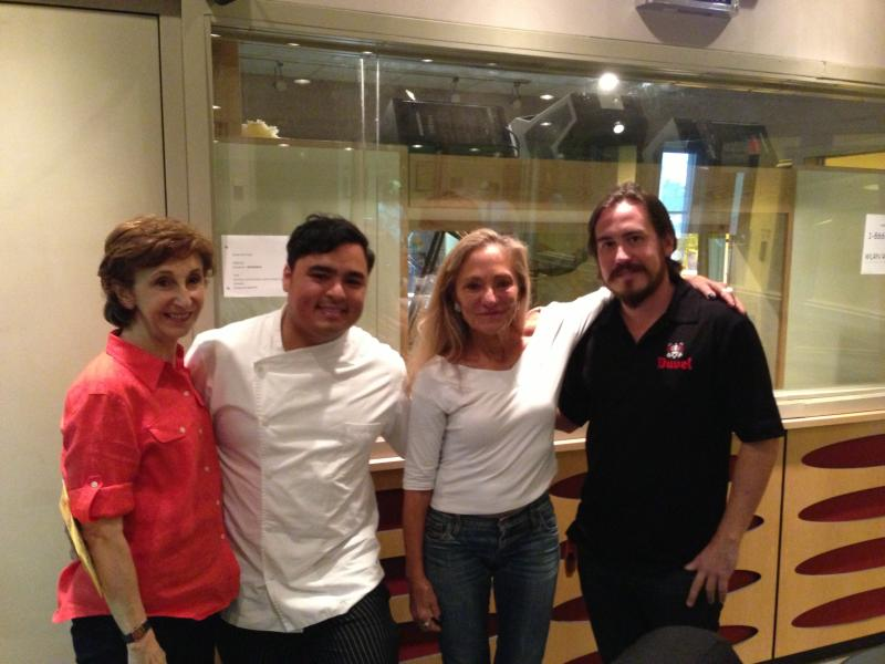 Today's Food and Dining segment featuring Octoberfest and Grovetoberfest beers/food. Pictured (l-r) Linda Gassenheimer, Lou Ramirez of Lou's Beer Garden, Bonnie Berman and Chris Montelius of Brown Distributing.