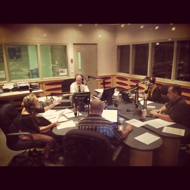 Behind the scenes of WLRN's pledge drive, Bonnie Berman (left).
