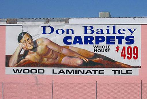 The Don Bailey Carpets sign.